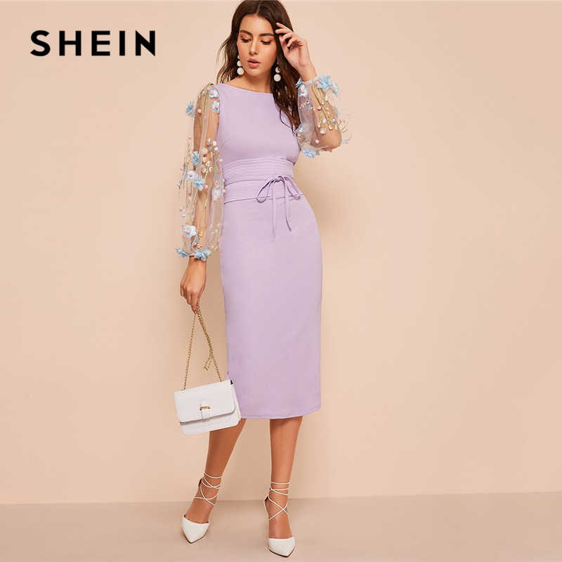8293c8cf7caf5 ... SHEIN Black Applique Embroidered Mesh Sleeve Pencil Dress Women Autumn  Elegant Casual Boat Neck Bishop Sleeve ...