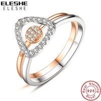 ELESHE Geometric Design Solid 925 Sterling Silver Rose Gold Color 2 Pcs Wedding Engagement Ring Set