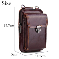 Belt case for iphone 8 7 plus Brown Genuine Leather Wallet Bag Luxury Waist Pack Universal Pocket for iphonex 10