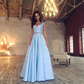 Sky Blue 2 Pieces Formal Women Sets To  Prom Long Skirt For Women With Tops Pleat Skirt Sets  Skirts Cost Women Clothing 2017