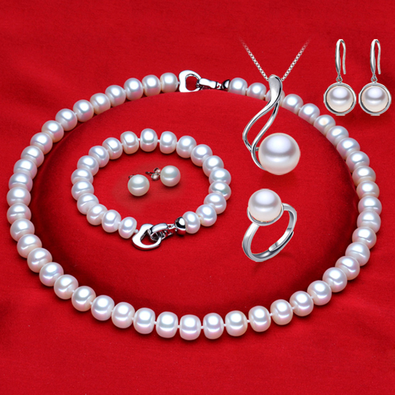 RUNZHUQIYUAN 2017 100% natural Freshwater Pearl necklace jewelry sets 925 sterling silver jewelry pearl for women weddings gift