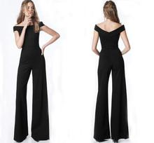 BLack Long Pant Women jumpsuit Sexy backless off shoulder high waist wide leg Pants  jumpsuit romper Female casual overall Style grey casual velvet off shoulder drawstring waist jumpsuit