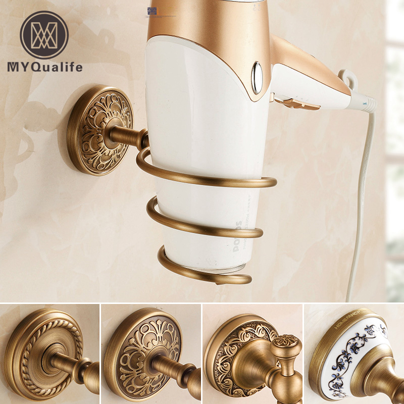 Family Daily Life Wall Mounted Brass Antique Hair Dryer Holder Bathroom Non-smearing Wall Suction Hair Dryer Shelf купить недорого в Москве