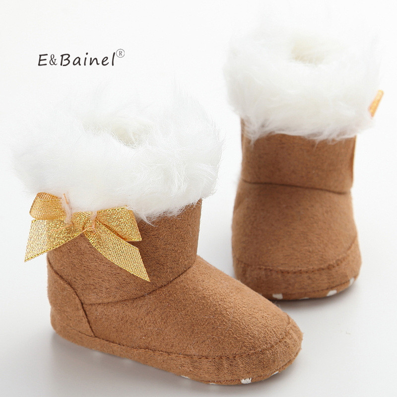 E&Bainel Super Warm Baby Moccasins Baby Boot Fur Snow Boot Booties Soft Bottom Shoes First Walkers Cotton Fleece Baby Shoes Girl