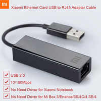 Original Xiao mi Cabo Adaptador Externo USB para Placa Ethernet RJ45 10/100Mbps para mi CAIXA S 3C /3S 4 Usb2.0 4C SE Laptop Notebook PC