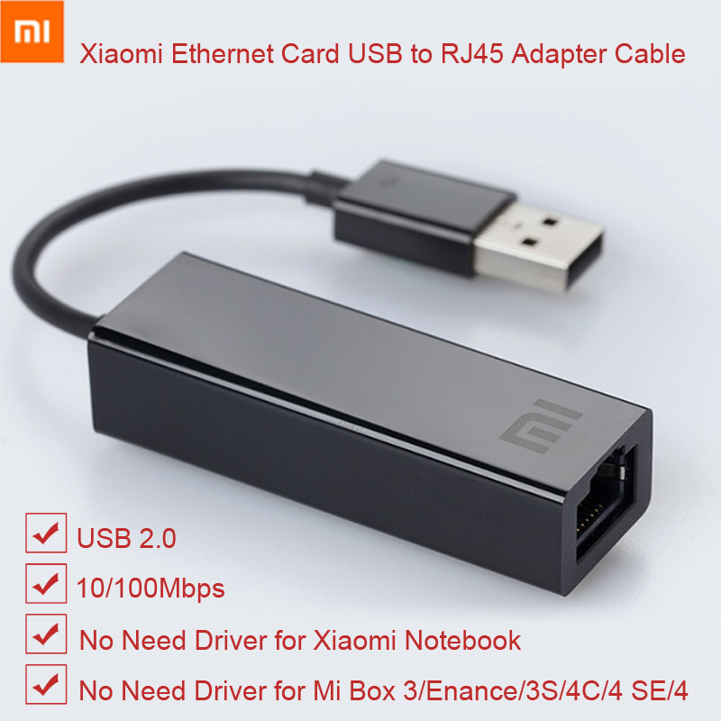 Original Xiaomi USB To Ethernet Card RJ45 Adapter Cable External 10/100Mbps For Mi BOX S 3C/3S 4 4C SE Laptop PC Notebook Usb2.0