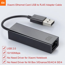 Asli Xiao Mi USB Ke Ethernet Kartu RJ45 Kabel Adaptor Eksternal 10/100Mbps untuk Mi Kotak S 3C /3S 4 4C Se Laptop Notebook PC Usb2.0(China)