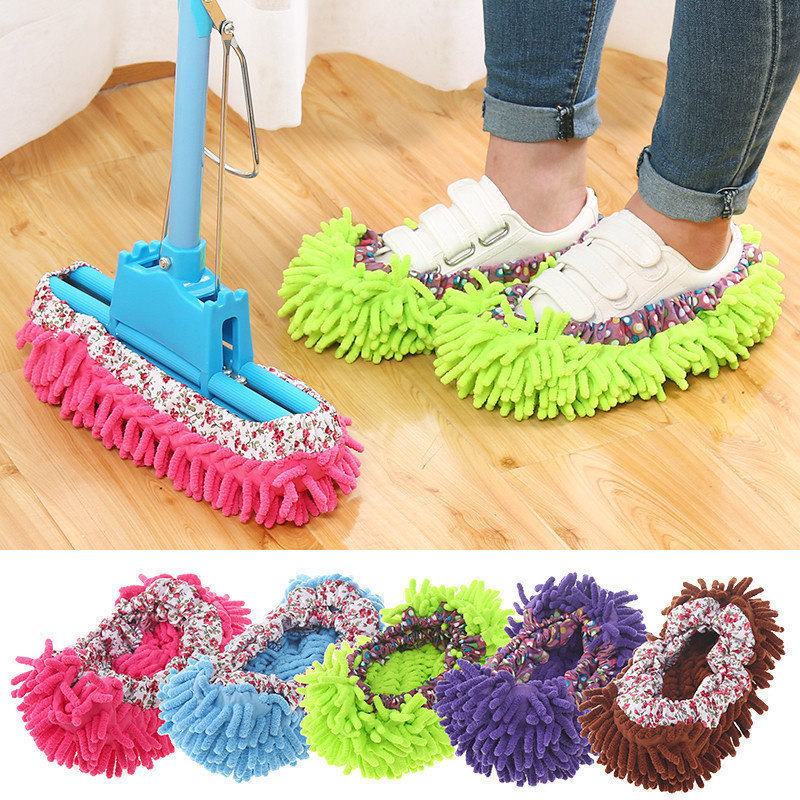 4PC Shoes Cover Mop Home Floor Cleaning Slipper Chenille Micro Fiber Shoes Covers Drag Mop Micro Velvet Shoes Clearn Cloth U3
