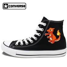 White Black 2 Colors Converse All Star Skateboarding Shoes Mens Womens Pokemon Charmeleon Anime Canvas Sneakers JH317 02