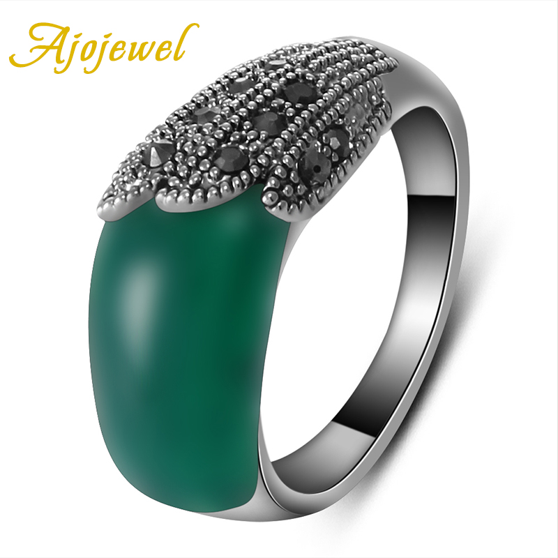 Ajojewel Brand Ladies Vintage Black CZ Green Stone Ring Female 2017 Popular