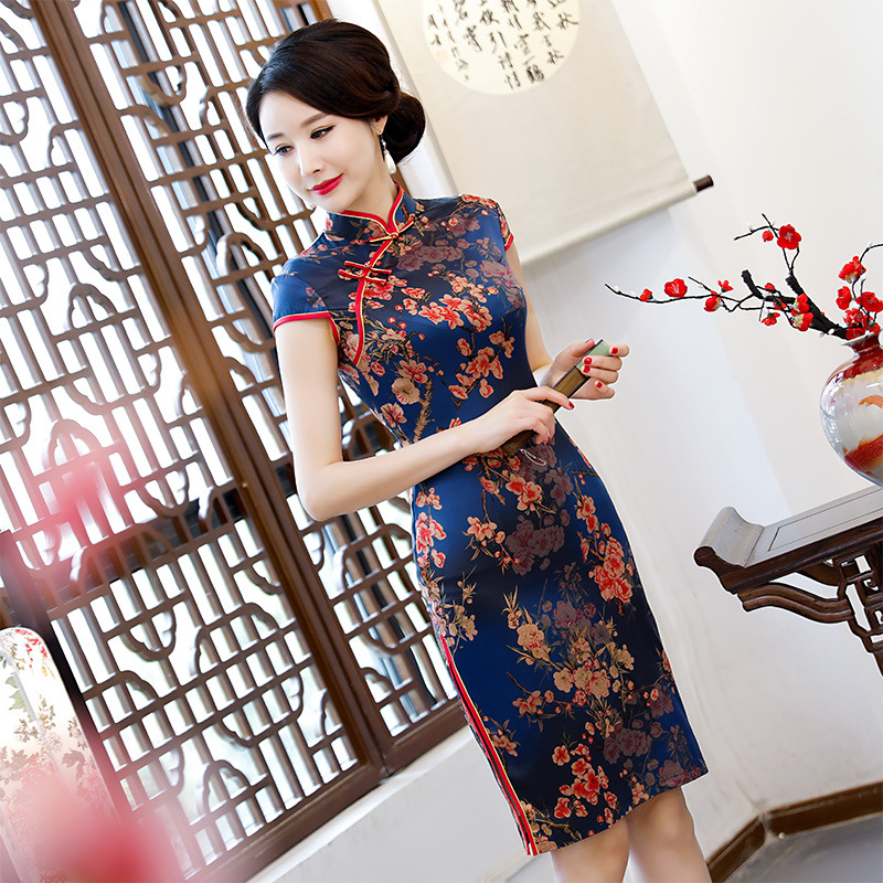 Chinese Traditional Dress Mother Modern Qipao Cheongsam Blue Women Dresses Floral Cheongsam Evening Party Wear fashion summer style kids baby girls peacock dress cheongsam chinese qipao floral pattern dresses