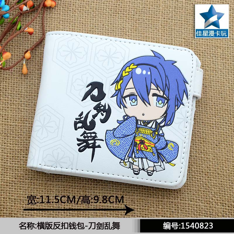 White Anime Touken Ranbu PU Horizontal Wallet/Short Purse With Button moana maui high quality pu short wallet purse with button