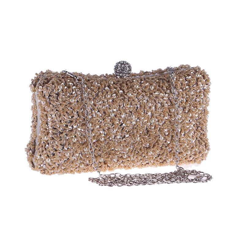 Pochette de soirée élégante faite à la main pour femmes pochette à rabat en cristal massif perles sac à main pour femme sac à main en métal sac à bandoulière