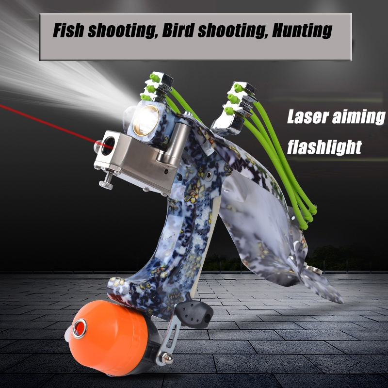 Laser Aiming Night Fishing Shoot Set Reel Fishing Shooting Gun Deep Sea Catapult Hunting Slingshot