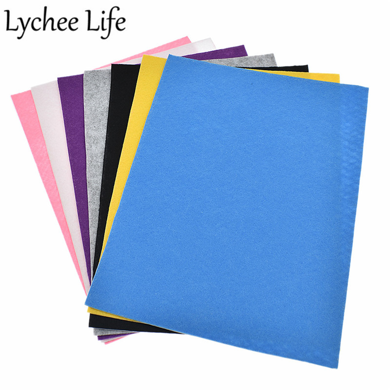 Lychee Life A4 1mm Self Adhesive Felt Fabric Solid Color 29x21cm Felt Fabric Handmade Home Factory Sewing Decorative Supplies