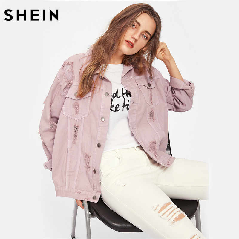 3319477f79 SHEIN Rips Detail Boyfriend Denim Jacket Autumn Womens Jackets and Coats  Pink Lapel Single Breasted Casual