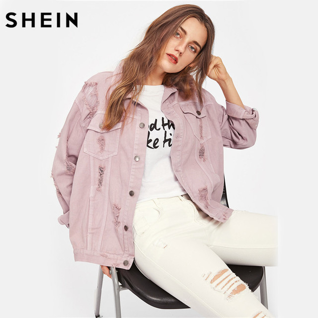 SHEIN Rips Detail chaqueta de mezclilla para novio, chaquetas y abrigos de otoño para mujer, chaqueta de otoño informal con solapa rosa y una botonadura