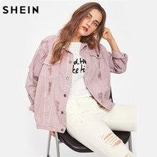 Shein 립 디테일 보이 프렌드 데님 자켓 가을 여성 자켓 및 코트 핑크 옷깃 싱글 브레스트 캐주얼 가을 자켓