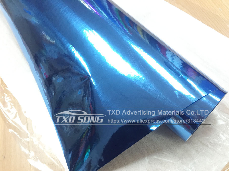 Image 2 - 50CM*1M/2M/3M/4M/5M Roll Car styling High stretchable Light blue Chrome Mirror Vinyl Wrap Sheet Roll Film Car Sticker Car Body-in Car Stickers from Automobiles & Motorcycles
