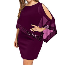 Sexy Sequined Overlay Capelet Dress Women 2019 O-Neck Short Sleeve Bodycon Party Dresses Vestidos Robe Femme S-5XL(China)