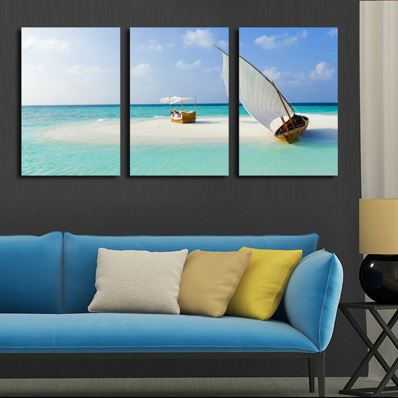 3 Panel Modern Wall Art Home Decoration Canvas Painting Canvas Prints Sea Scenery Beach Sailing Pictures Prints Art (Unframed)