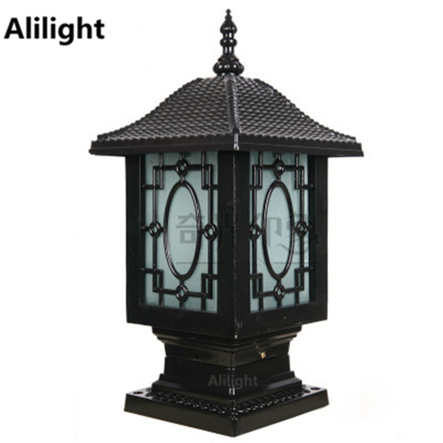 Chinese Traditional Lantern Decor Aluminum Landscape Lighting Outdoor Post Lights Garden Columns Pillar Lamp Wall Mount