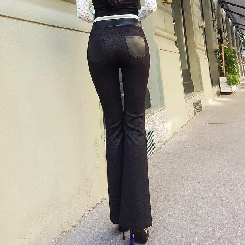 2019 Lulu Leggings réel précipité nouveauté Faux cuir régulier aucune femme pantalon tempérament perplexe pantalon évasé Pu femmes - 4