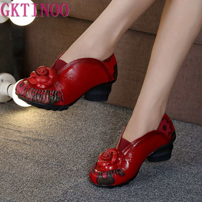 2019 Retro Style Flower Handmade Women s Shoes Pumps Soft Outsole Genuine Leather Square Heels Round