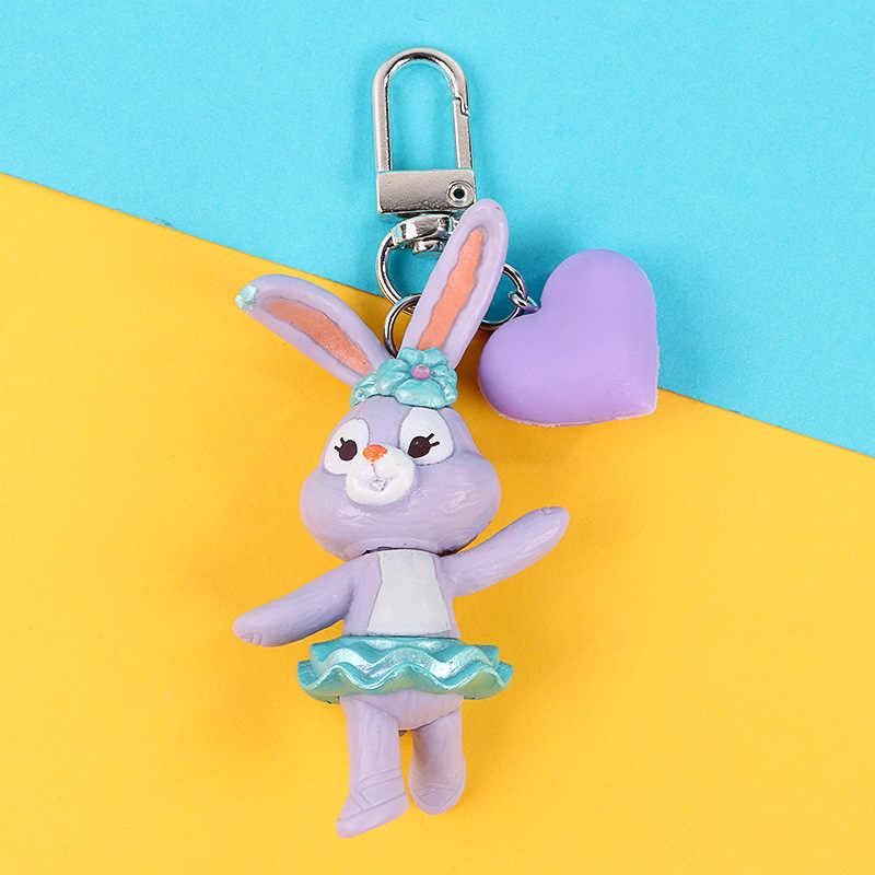 ¡Novedad de 2019! Llavero en 3D con forma de cachorro de conejo, anillo para mujer y Chica, llavero de niños, llavero de figura de dibujos animados, regalos artesanales para coche