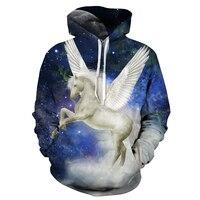 2017 Sweatshirt Hoodies Men Women Cool Creative 3D Print Blue White Horse Wing Fashion Hot Style