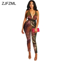 Shiny Gradient Sequin Sexy Rompers Womens Jumpsuit Backless Spaghetti Strap One Piece Overall Casual V Neck Sleeveless Bodysuits