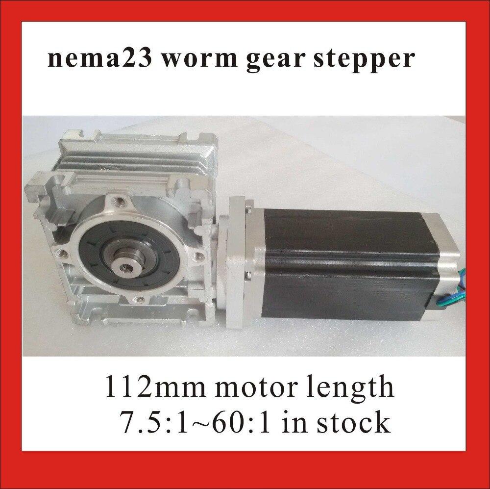 NEMA 23 червячный редуктор Шаговые двигатели 7.5: 1 ~ 80: 1 RV30 worm редуктор с 112 мм Длина Nema23 Шаговые двигатели ce rohs