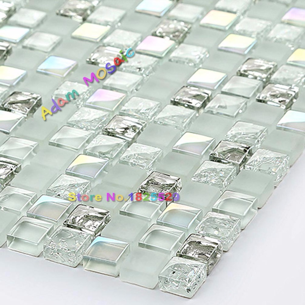 Aliexpress.com : Buy Transparent White Glass Mosaic Tiles Silver ...