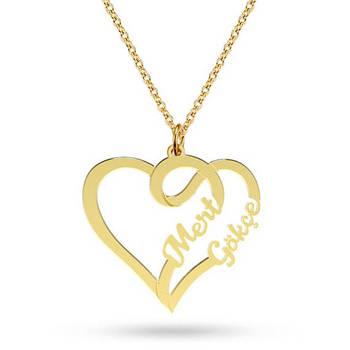 67e0da097ca5 Joyería hecha a mano regalo de dama de honor cualquier letra doble nombre  personalizado collares mujeres plata oro corazones gargantilla collar