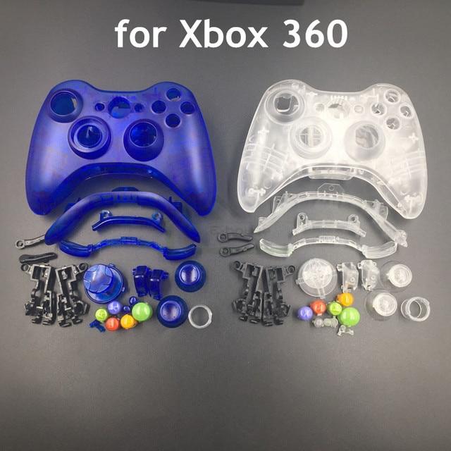 Przezroczysty biały/czysty, niebieski kolor kontroler bezprzewodowy obudowa Shell dla konsoli Xbox 360 pokrywa do obudowy w celu uzyskania z zestawem przycisków