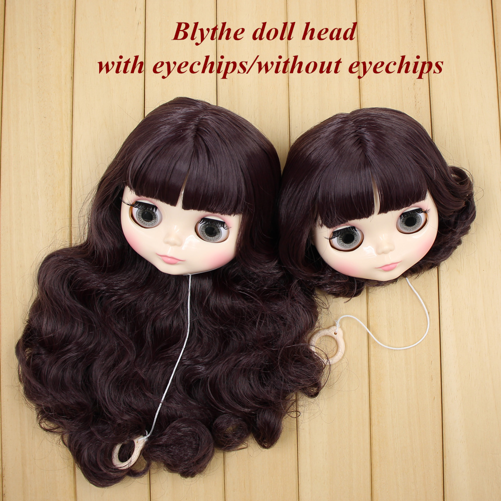blyth doll head with hair customize DIY 16 with or without eyechips Dreamy deep purple soft long curly hair short hair