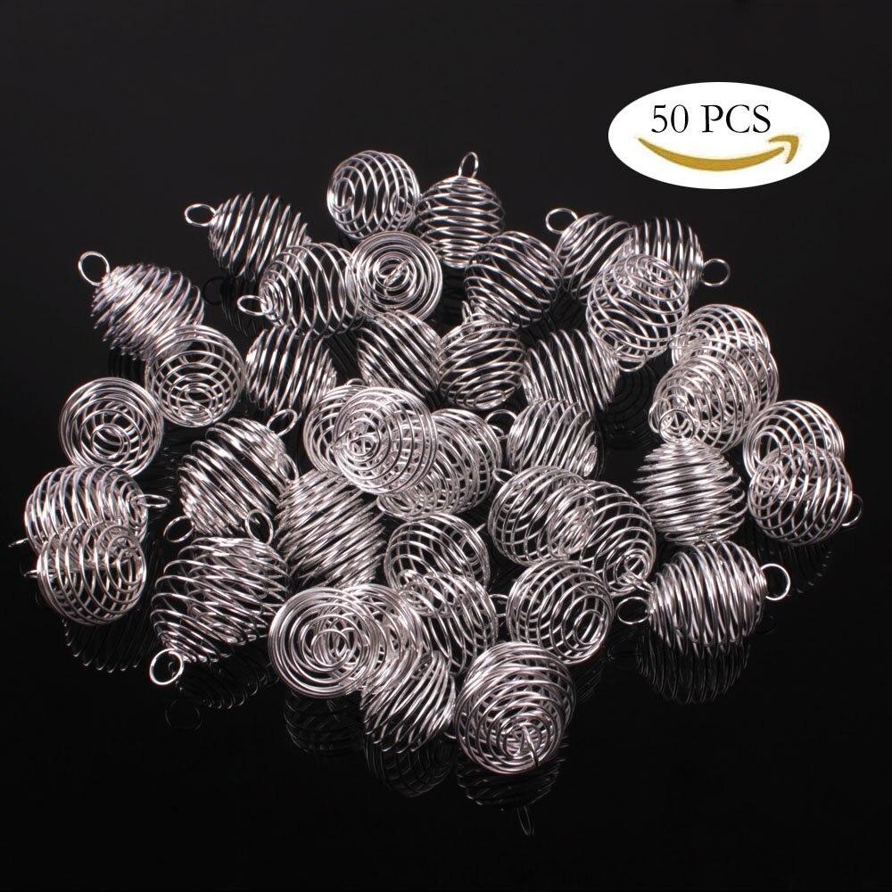 50 Stücke Diy Schmuck Machen Silber Überzogene Spirale Bead Käfig Charms Anhänger Für Frauen Männer Zubehör 20x25mm, 25x30mm