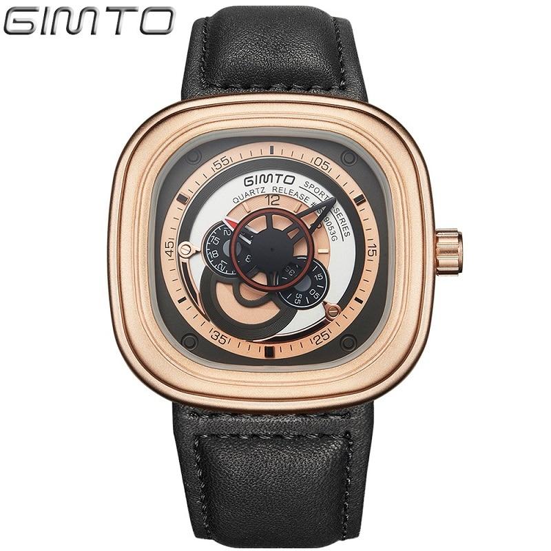 GIMTO Sports Watches Men Quartz Waterproof Watch Reloj Hombre Men Leather Men's Watches Top Luxury Brand Relogio Masculino
