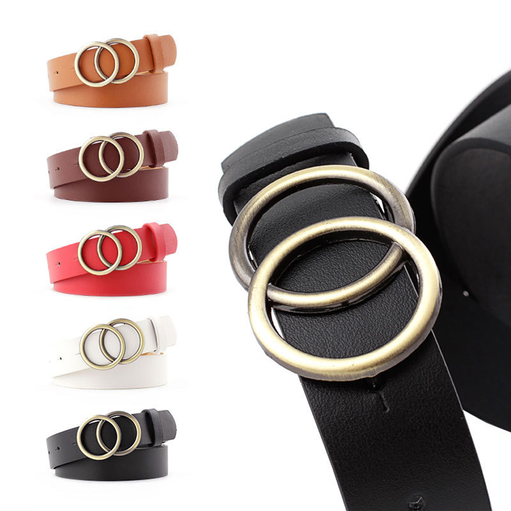 Cinturon Mujer New Double Round Buckle Belt Fashion Leather Waist Belt For Women Female Harajuku Black Red Solid Color Belt