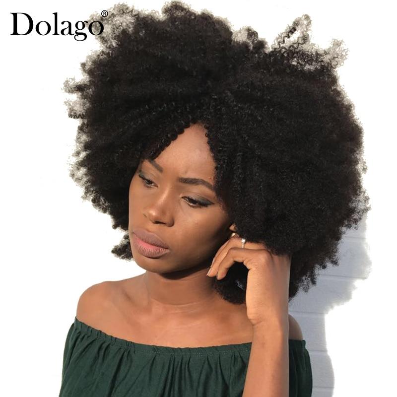 4B 4C Afro Crépus Bouclés Clip En Extensions de Cheveux Humains Brésiliens Remy Cheveux 100% de Cheveux Humains Naturel Clip Ins Faisceau dolago
