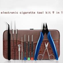 Bobina pai 9 em 1 kit saco de ferramentas pinças tesoura bobina jig brusher alicates para diy rda rdta vape acessório chave de fenda