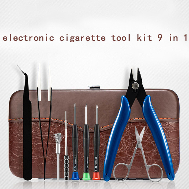 Coil Father 9 in 1 Tool Bag Kit Tweezers Scissors Coil Jig Brusher Pliers For DIY RDA RDTA Vape Accessory Screwdriver