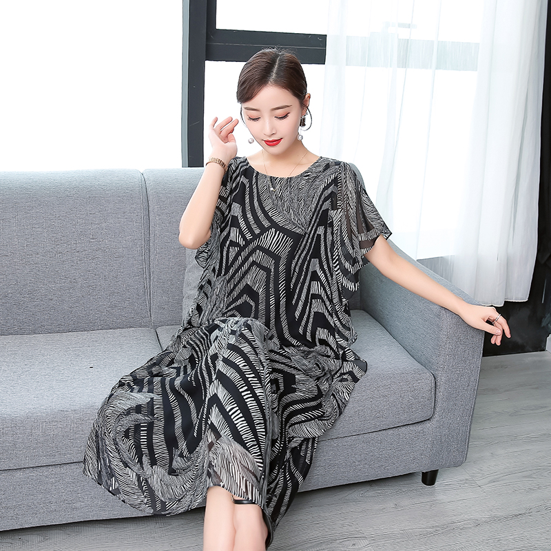 Fashion High Quality 2019 New Summer Women Dress Real Silk Printed Retro Dress Chinese Style Loose Casual Sleeveless Plus Size