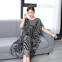 Fashion Real Silk High Quality 2019 New Summer Women Dress Printed Retro Dress Chinese Style Loose Casual Sleeveless Plus Size