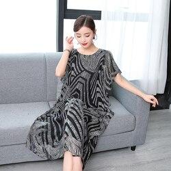 Mode réel soie haute qualité 2019 nouveau été femmes robe imprimé rétro robe Style chinois lâche décontracté sans manches grande taille