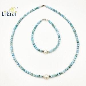 Image 3 - LiiJiธรรมชาติที่ไม่ซ้ำกันหินสีฟ้าLarimar 3 4มม.รอบลูกปัดไข่มุกน้ำจืด925สร้อยข้อมือแฟชั่นเงินสเตอร์ลิง