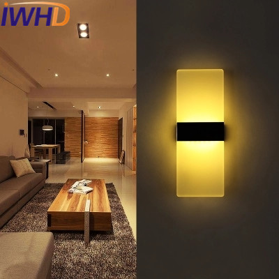 IWHD Aluminum LED Lighting Wall Lamp For Bedroom Acylic Modern Wall Sconce Fixtures Living Room Restaurant Aplique Luz Pared bedside wooden wall lamp wood glass aisle wall lights lighting for living room modern wall sconce lights aplique de la pared