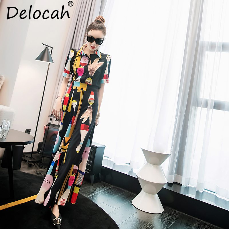 Delocah Women Summer Vintage Suits Runway Fashion Designer Short Sleeve Tops and Character Printed Elegant Pants
