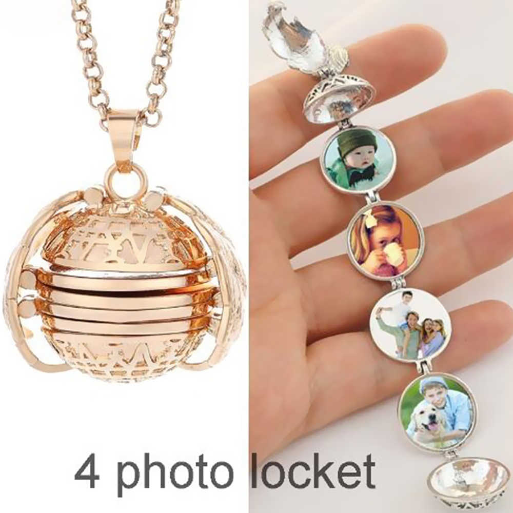 Magic Photo Apribile Del Pendente Del Locket Medaglione di Memoria di Angelo Della Collana Della Sfera Placcato Ali Flash Box Album di foto Regalo Per Pregancy Madre