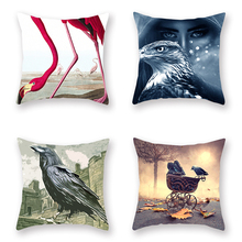 Set of 4 Throw Pillow Covers Watercolor Birds Pattern Cushion Cover 18 X Inch Pillowcase Multicolor